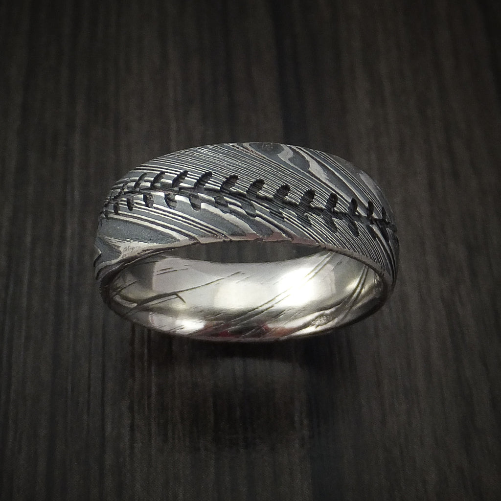 Kuro Damascus Steel Baseball Stitch Ring with Tumble Finish - Baseball Rings  - 2