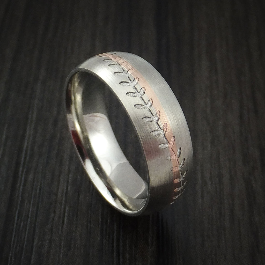 14k White Gold and Rose Gold Baseball Ring Custom Made Band - Baseball Rings  - 1