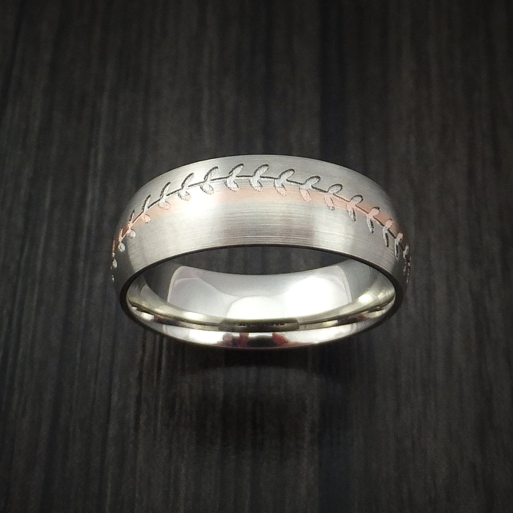 14k White Gold and Rose Gold Baseball Ring Custom Made Band - Baseball Rings  - 2