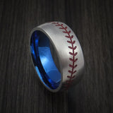 Titanium Baseball Ring with Satin Finish and Anodized Sleeve - Baseball Rings  - 1