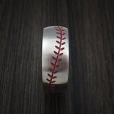Titanium Baseball Ring with Satin Finish and Anodized Sleeve - Baseball Rings  - 3
