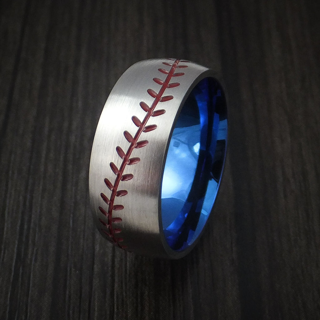 Titanium Baseball Ring with Satin Finish and Anodized Sleeve - Baseball Rings  - 4