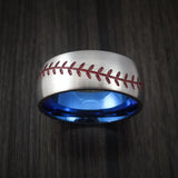 Titanium Baseball Ring with Satin Finish and Anodized Sleeve - Baseball Rings  - 2