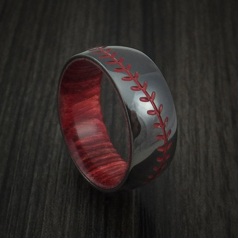 Black Zirconium Baseball Stitch Ring with Custom Color and Bahama Cherry Wood Sleeve - Baseball Rings  - 1