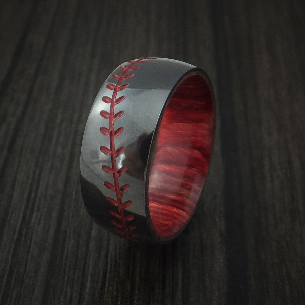 Black Zirconium Baseball Stitch Ring with Custom Color and Bahama Cherry Wood Sleeve - Baseball Rings  - 4