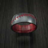 Black Zirconium Baseball Stitch Ring with Custom Color and Bahama Cherry Wood Sleeve - Baseball Rings  - 2