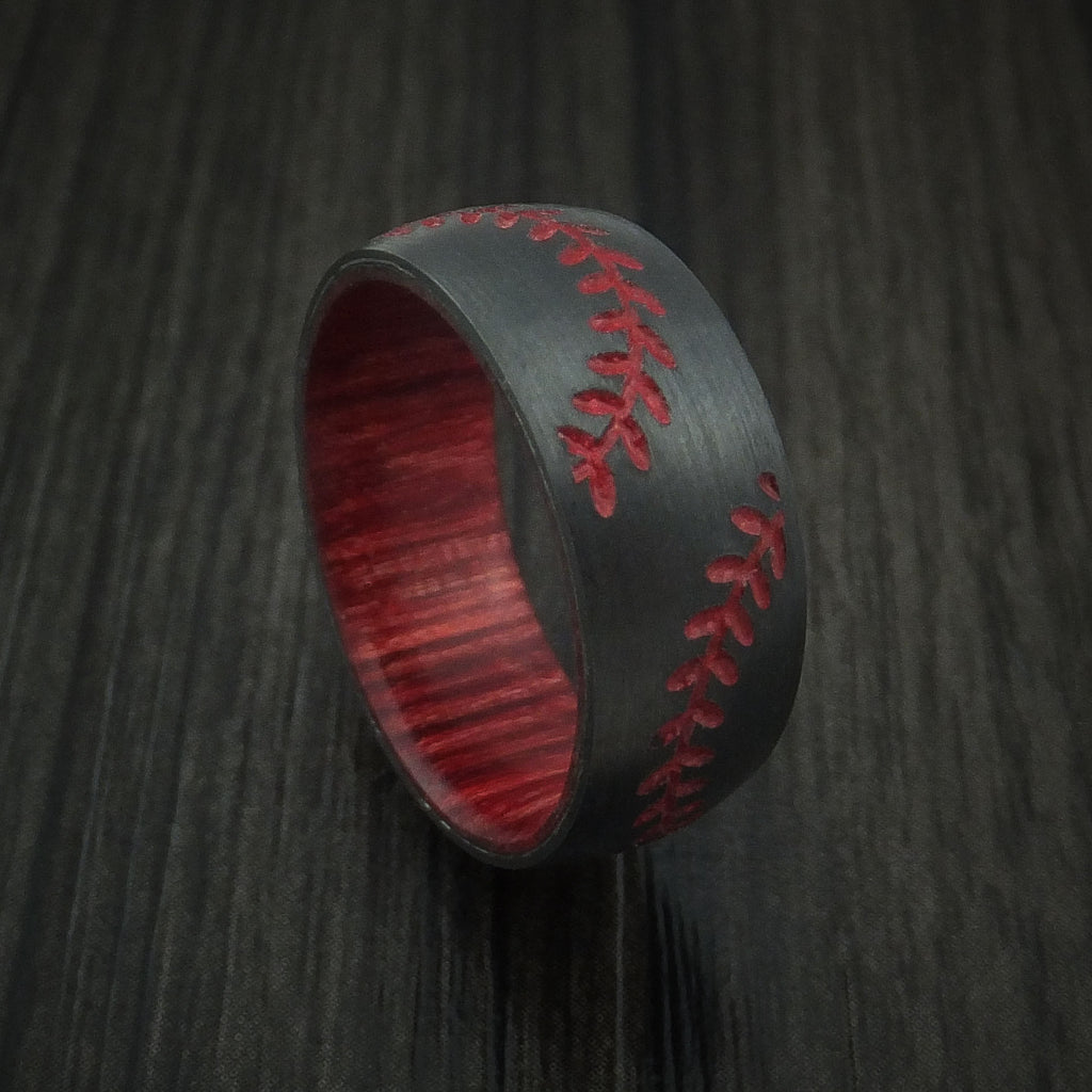 Black Zirconium Double Stitch Baseball Ring with Custom Color and Hardwood Sleeve - Baseball Rings  - 1