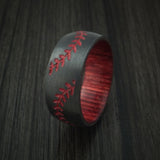 Black Zirconium Double Stitch Baseball Ring with Custom Color and Hardwood Sleeve - Baseball Rings  - 4