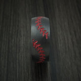 Black Zirconium Double Stitch Baseball Ring with Custom Color and Hardwood Sleeve - Baseball Rings  - 3