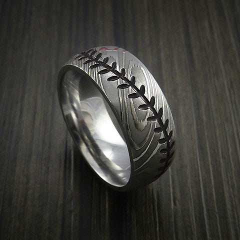 Damascus Steel Baseball Ring with Polish Finish - Baseball Rings  - 11