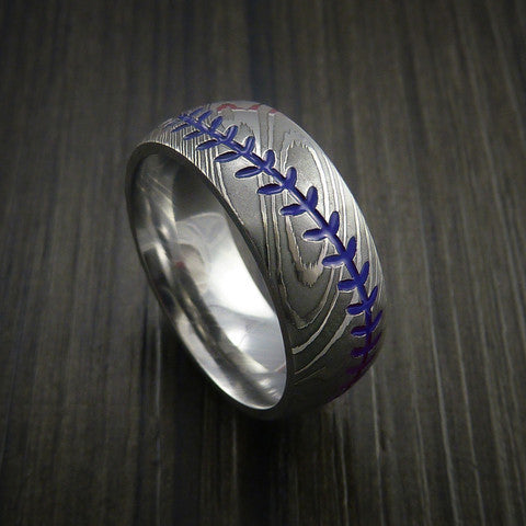 Damascus Steel Baseball Ring with Polish Finish - Baseball Rings  - 7