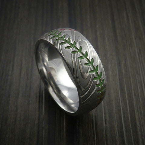 Damascus Steel Baseball Ring with Polish Finish - Baseball Rings  - 5