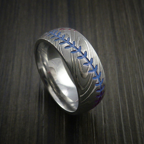 Damascus Steel Baseball Ring with Polish Finish - Baseball Rings  - 6