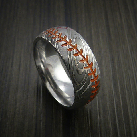 Damascus Steel Baseball Ring with Polish Finish - Baseball Rings  - 3
