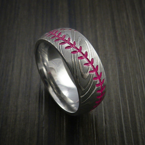 Damascus Steel Baseball Ring with Polish Finish - Baseball Rings  - 10