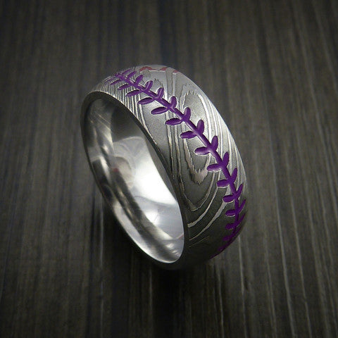 Damascus Steel Baseball Ring with Polish Finish - Baseball Rings  - 9