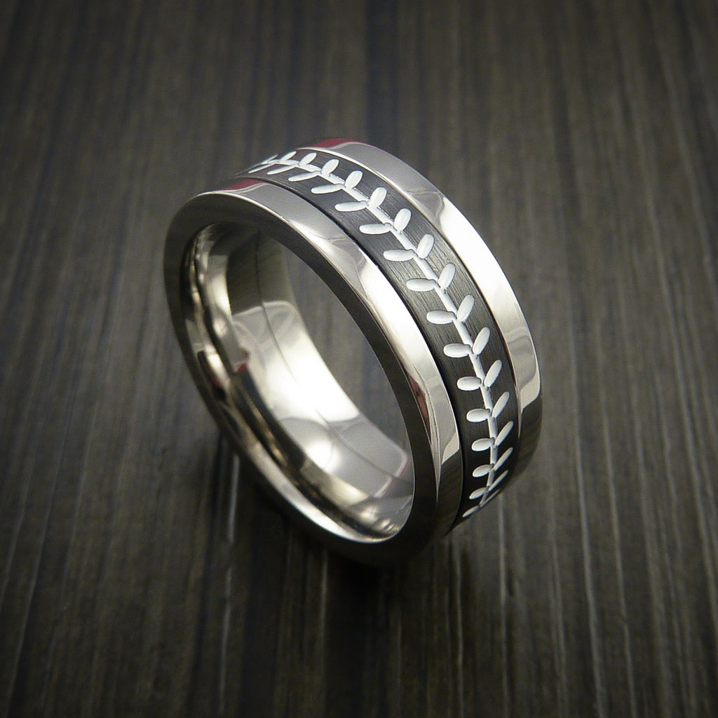 Unique Cobalt Chrome and Black Zirconium Baseball Ring with Strait Stitching - Baseball Rings  - 1