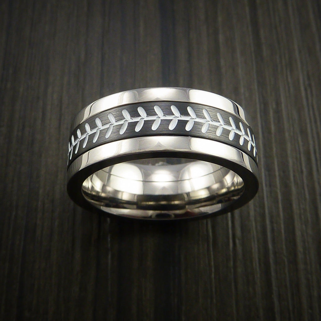 Unique Cobalt Chrome and Black Zirconium Baseball Ring with Strait Stitching - Baseball Rings  - 2