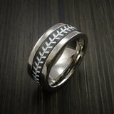 Unique Cobalt Chrome and Black Zirconium Baseball Ring with Strait Stitching - Baseball Rings  - 4