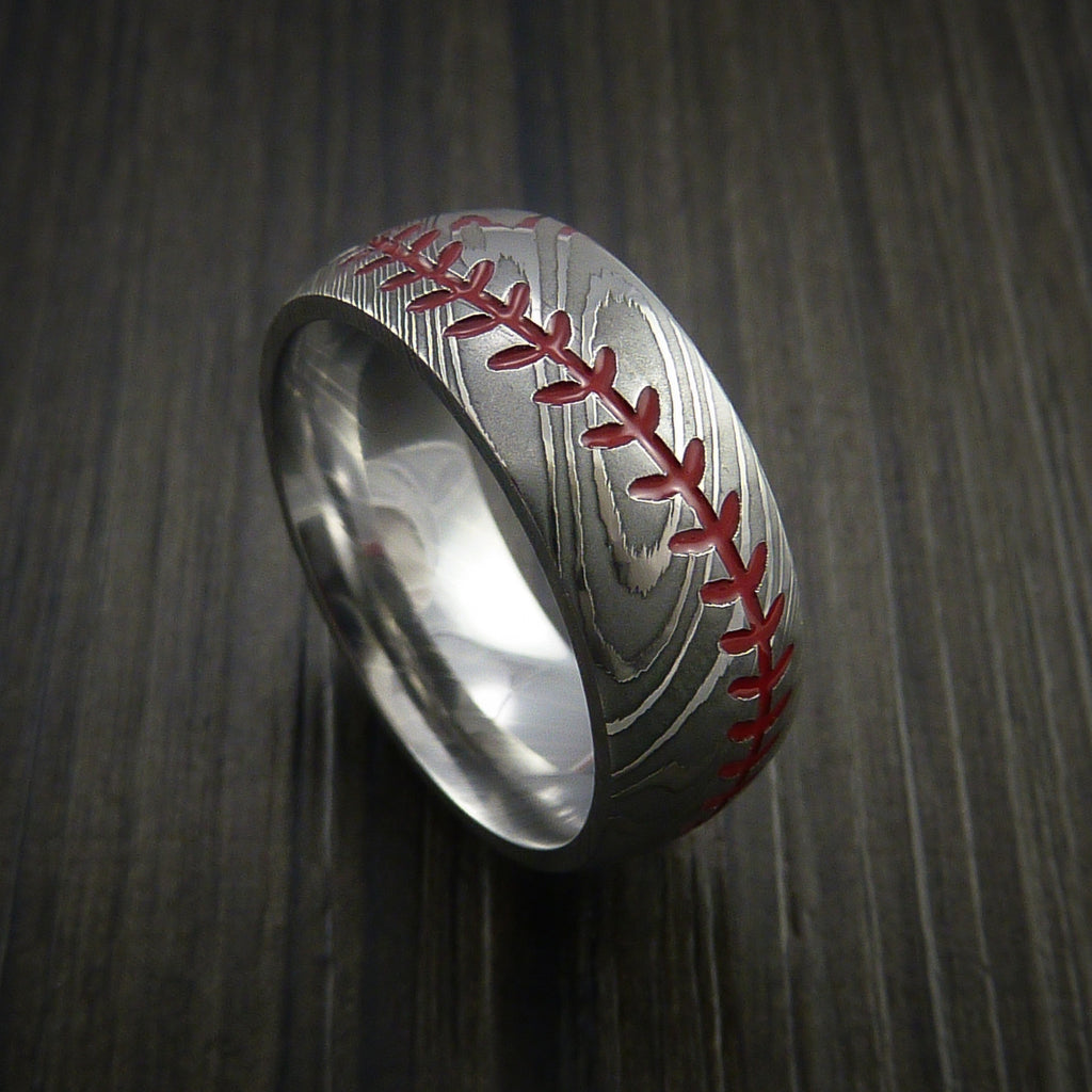 Damascus Steel Baseball Ring with Polish Finish - Baseball Rings  - 1