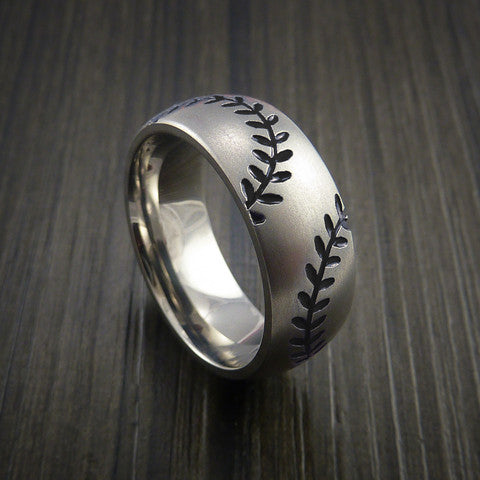 Titanium Double Stitch Baseball Ring with Bead Blast Finish - Baseball Rings  - 11