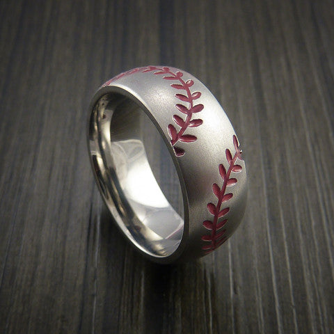 Titanium Double Stitch Baseball Ring with Bead Blast Finish - Baseball Rings  - 2