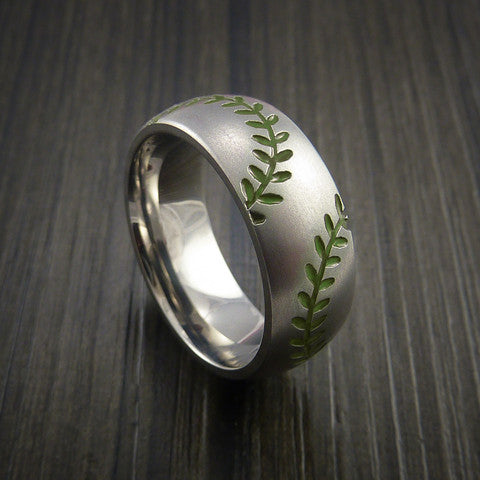 Titanium Double Stitch Baseball Ring with Bead Blast Finish - Baseball Rings  - 5