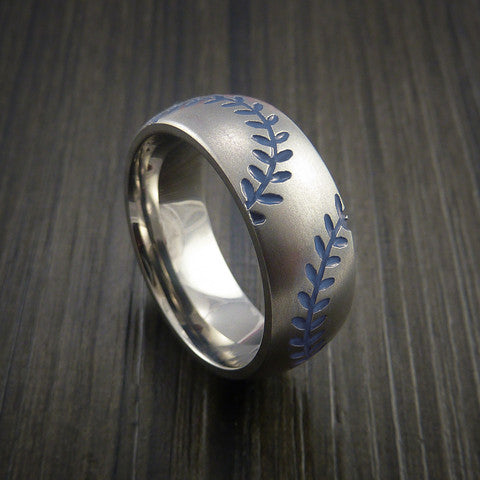 Titanium Double Stitch Baseball Ring with Bead Blast Finish - Baseball Rings  - 6