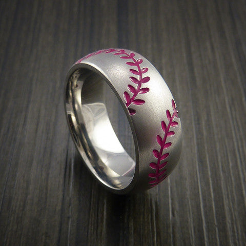 Titanium Double Stitch Baseball Ring with Bead Blast Finish - Baseball Rings  - 10