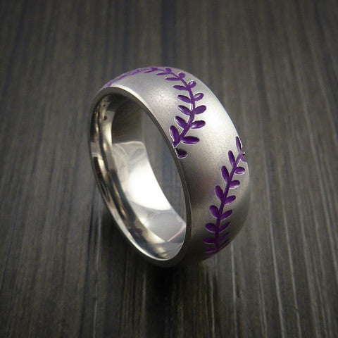 Titanium Double Stitch Baseball Ring with Bead Blast Finish - Baseball Rings  - 9