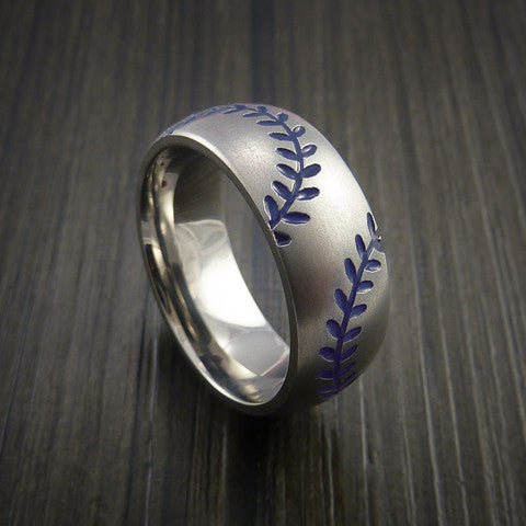 Titanium Double Stitch Baseball Ring with Bead Blast Finish - Baseball Rings  - 7
