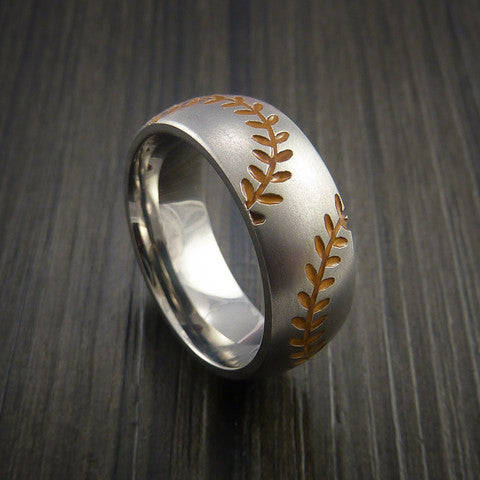 Titanium Double Stitch Baseball Ring with Bead Blast Finish - Baseball Rings  - 4