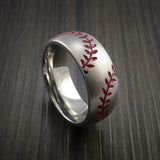 Titanium Double Stitch Baseball Ring with Bead Blast Finish - Baseball Rings  - 1