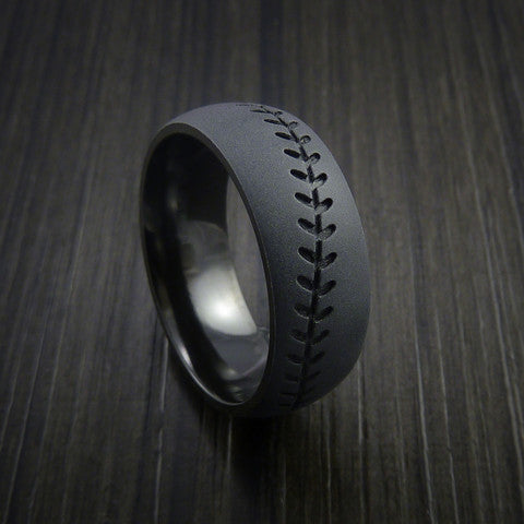 Black Zirconium Baseball Ring with Bead Blast Finish - Baseball Rings  - 11