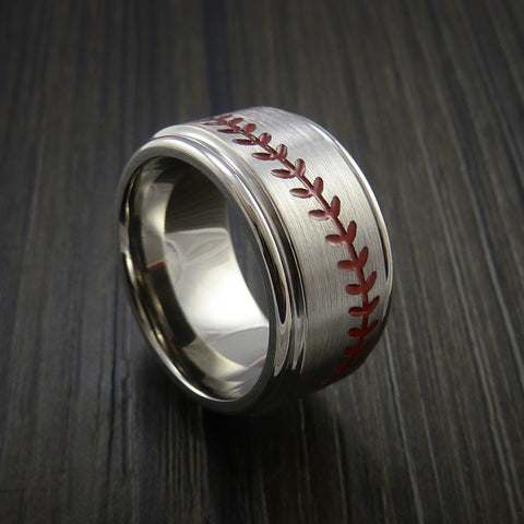 Wide Titanium Baseball Ring With Satin Finish - Baseball Rings  - 1