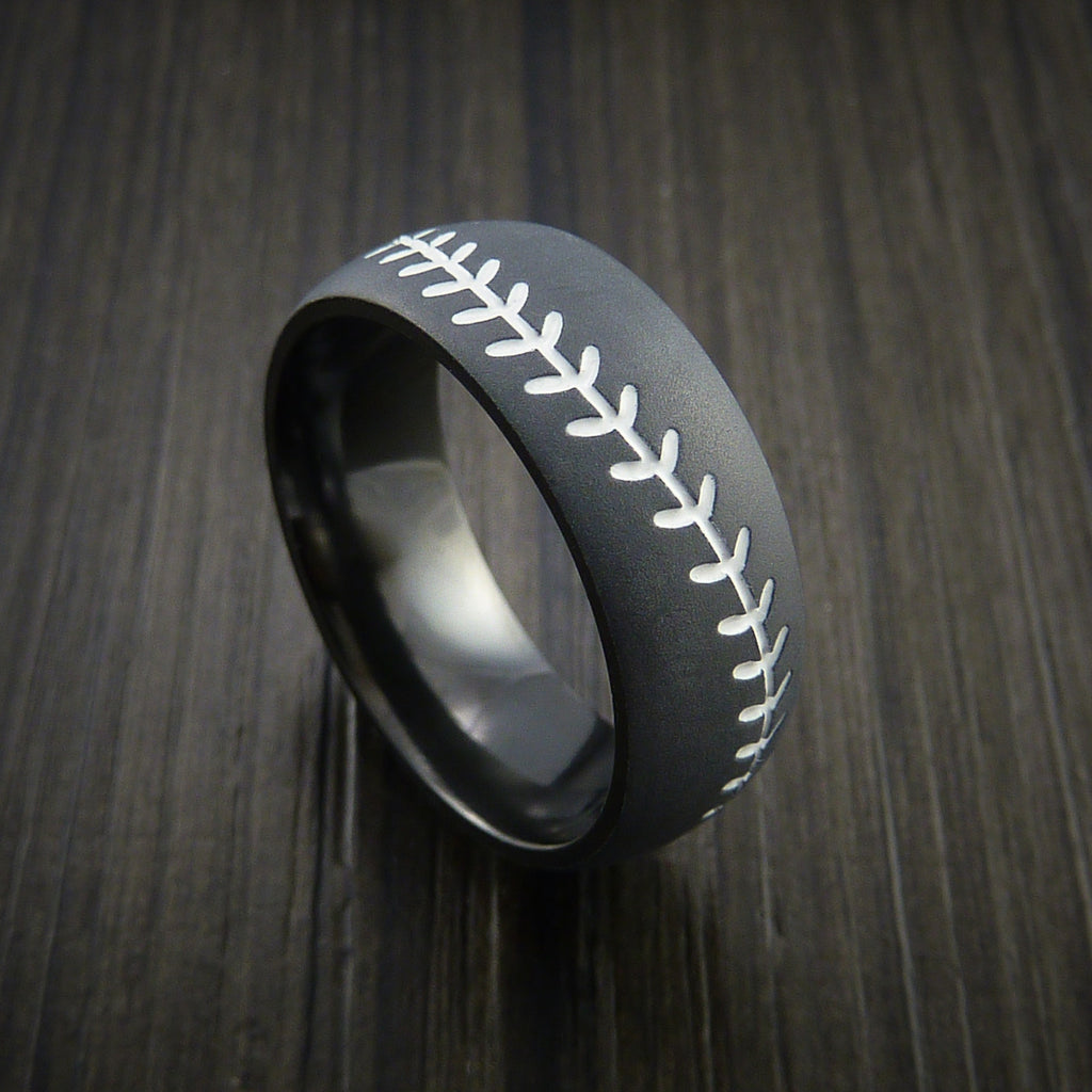 Black Zirconium Baseball Ring with Bead Blast Finish - Baseball Rings  - 12