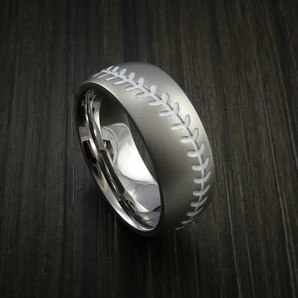 Cobalt Chrome Baseball Ring with Bead Blast Finish - Baseball Rings  - 12
