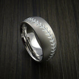 Titanium Baseball Ring with Bead Blast Finish - Baseball Rings  - 12