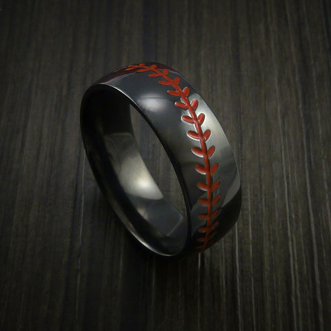 Black Zirconium Baseball Ring with Polish Finish - Baseball Rings  - 1
