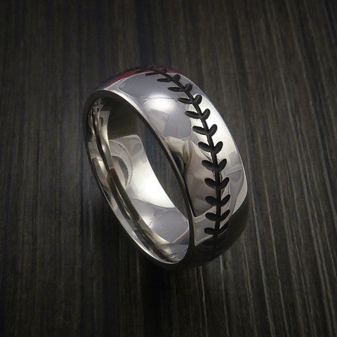 Cobalt Chrome Baseball Ring with Polish Finish - Baseball Rings  - 11