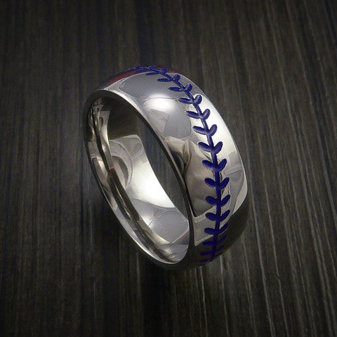 Cobalt Chrome Baseball Ring with Polish Finish - Baseball Rings  - 7