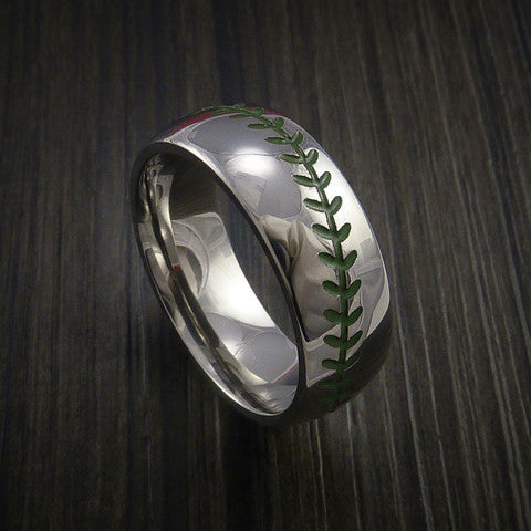 Cobalt Chrome Baseball Ring with Polish Finish - Baseball Rings  - 5