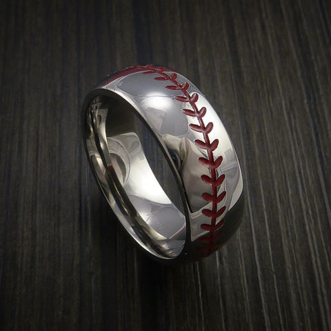 Cobalt Chrome Baseball Ring with Polish Finish - Baseball Rings