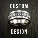 Custom Built Baseball Ring With Two Metals and Custom Stitching Color - Baseball Rings