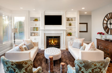 Interior designed living room with a fireplace