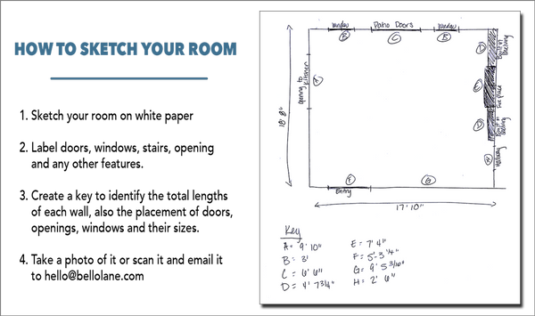 Instructions on how to sketch your room for an e-design with Bello Lane Decor & Design