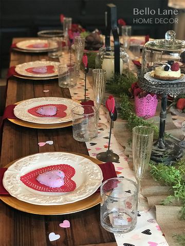 Valentine's Day table scape at a side view
