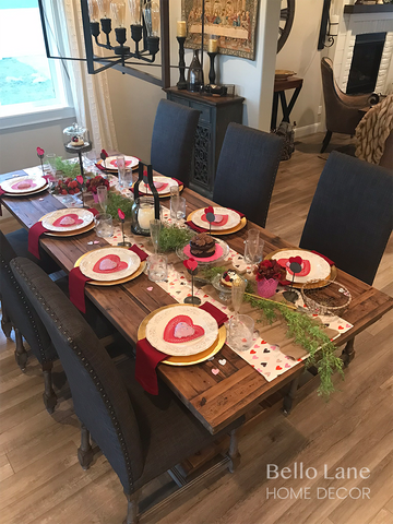 full view of the Valentine's Day tablescape