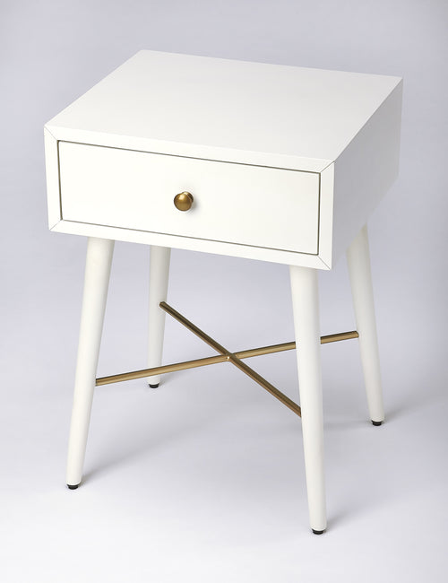 DELRIDGE - WHITE & GOLD - END TABLE