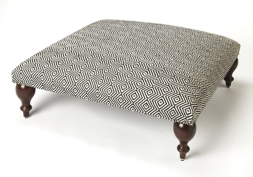 LUCINDA - BLACK & WHITE UPHOLSTERED - COCKTAIL OTTOMAN